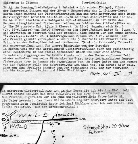 Bericht zum Skirennen in Itingen BL am 6. Januar 1985